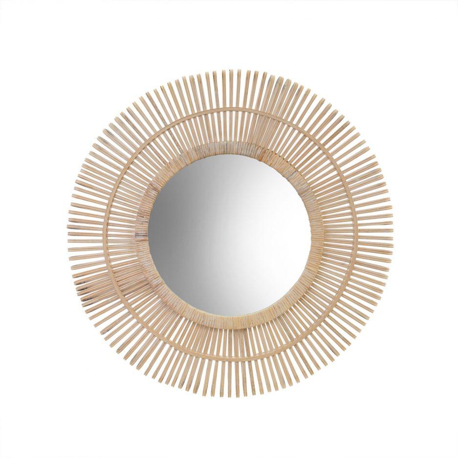 Miroir bois rayons