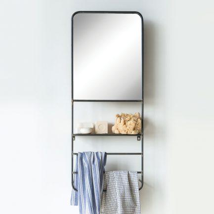 Miroir étagère en métal