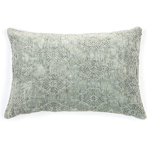 Coussin broderie sauge