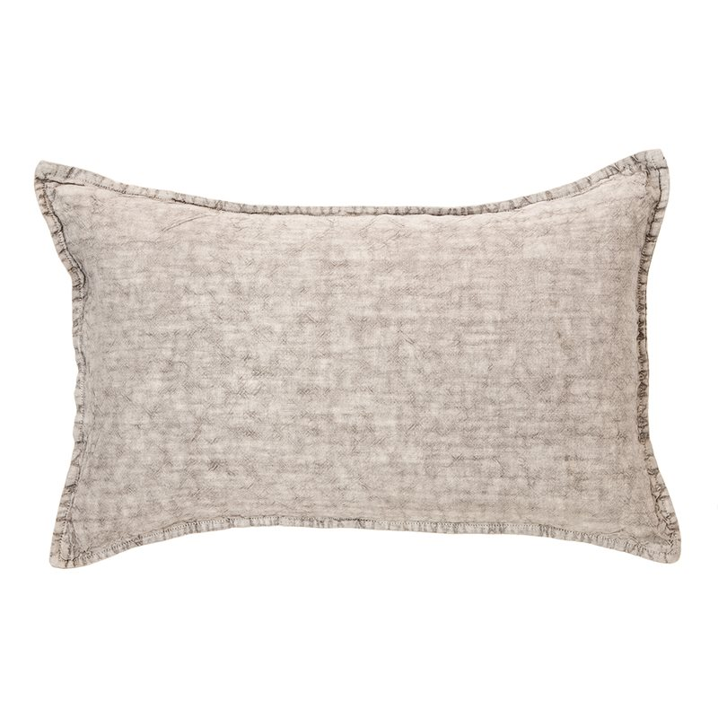 Coussin lin stone wash gris