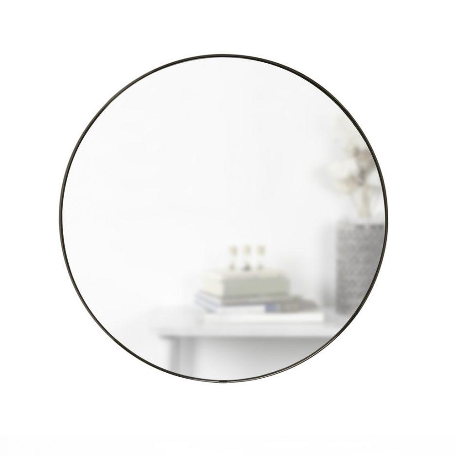 Miroir rond gris foncé