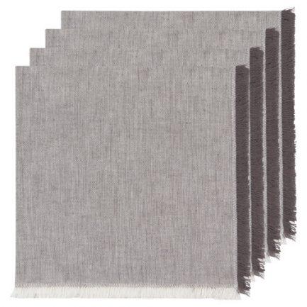 Serviettes de table crèmes tissées grise (4)