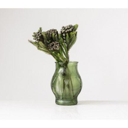 Vase vert embossé